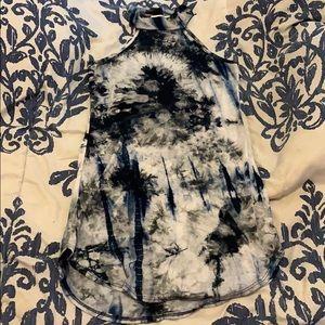 Tye Dye Dress Navy Blue w/ White and Black